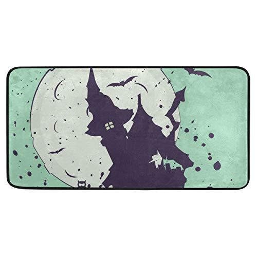 LASINSU Ilustración de Halloween Silueta casa de Brujas en,Alfombrilla de baño, Antideslizante,Alfombra de Microfibra, 99 * 51cm