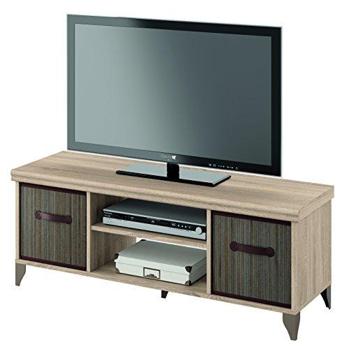 Mueble de televisión 120x40 de melamina y cestos de bambu, modulo bajo tv