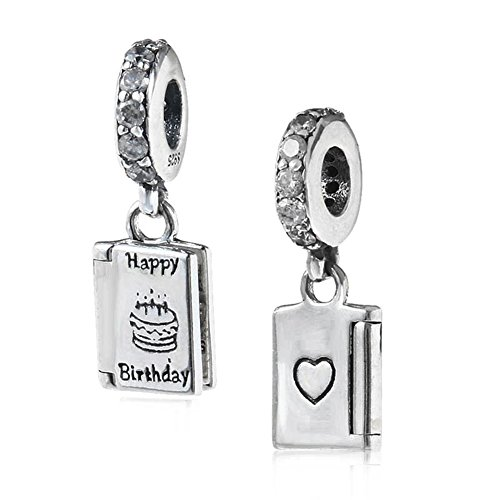 Happy Birthday Day Charm 925 Sterling Silver Cake Charm Book Charm for Pandora Bracelet (B)