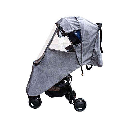 LaChaDa Stroller Cover Weather Shield Universal Waterproof Protection Umbrella Wind Dust Cover for Strollers(Grey)