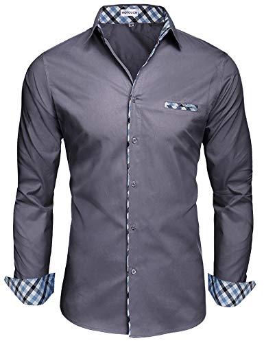 Hotouch Herren Hemd Slim Fit Businesshemd Langarm Shirt Comfy Button Down Casual Hemden (1-dunkelgrau, Medium)