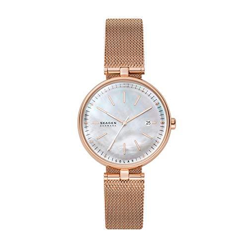 Skagen Women's Karolina Solar Watch with Stainless Steel Mesh Strap, Rose Gold, 16 (Model: SKW2980)