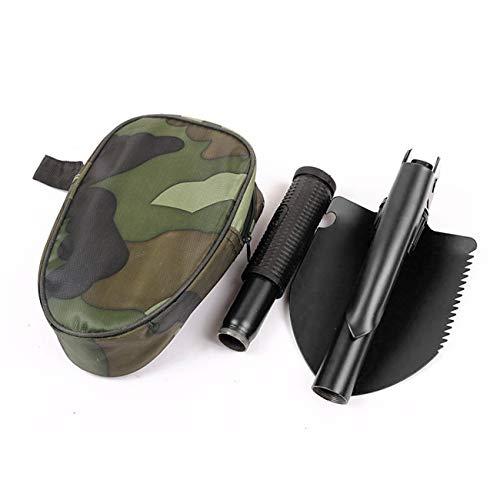 Pala Plegable Militar Pala Plegable multifunción Mini Pala para zanjas con Bolsa de Transporte para Supervivencia Camping al Aire Libre - Verde Militar