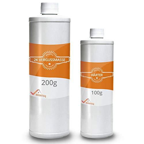 BEKATEQ BK-250EP 2K Vergussmasse Elektronik 300g Farblos | Elektrovergussmasse für Elektronik, geprüfte Isolierung bis 1000 V I Vergießen von Muffen, Abzweigdosen, Platinen