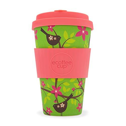 Ecoffee Cup Widdlebirdy grün, pink 1Stück (S) Tasse und Becher–Tasse/Becher (nur, 0,4l, Grün, Pink, aus Bambus, Silikon, 1Menschen (S), 1Stück (S))