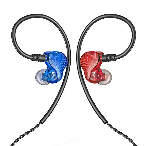 FiiO FA1 Over The Ear Earphones Detachable Cable Design HiFi Single Balanced Armature Driver Earphones for iOS and Android Computer PC Tablet(Blue(L) and Red(R)-Swirl