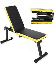 SogesPower - Banco de pesas plegable y multifuncional con respaldo ajustable, para entrenamiento de fuerza y fitness en el hogar