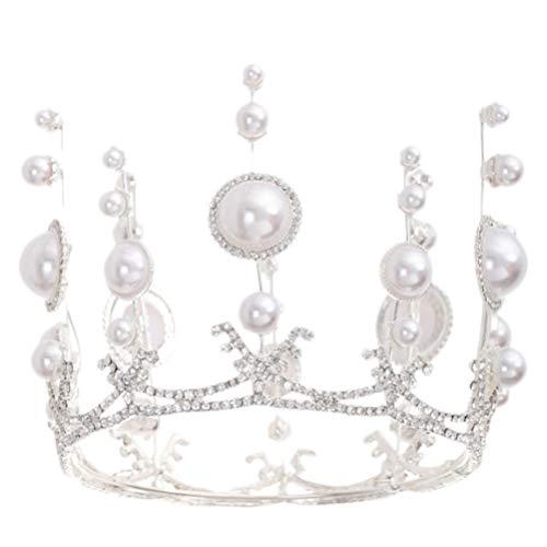 FRCOLOR Perle Brautkrone Königliche Europäische Prinzessin Krone Hochzeit Strass Diademe Stirnband Party Haarschmuck für Brautparty Geburtstag Kopfbedeckungen