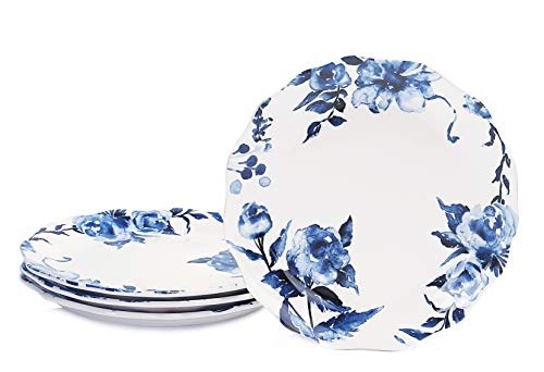 Bico Watercolor Blue Flower Scalloped Dinner Plates, Ceramic, 11 inch, Set of 4, for Pasta, Salad, Maincourse, Microwave & Dishwasher Safe