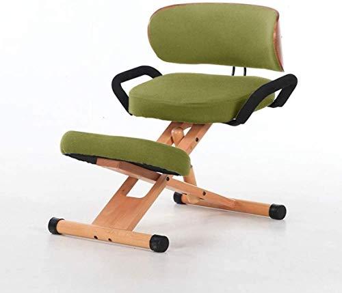 Rodillas ergonómicas sillas Ajustables sillas Oficina Rodillas Respaldo Apoyabrazos Ortopédica Postura Corrección Kneel heces Sillón (Color : Green)