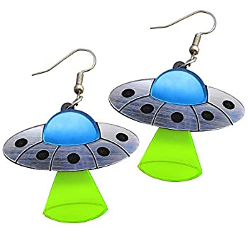 Flying Saucer UFO Dangle Earrings Alien Spaceship with Abduction Beam Statement Stainless Steel Rave Earrings