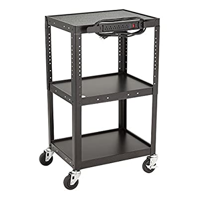 Norwood Commercial Furniture NOR-GNO1009-SO Adjustable Height Metal AV Cart with Electric Power Cord