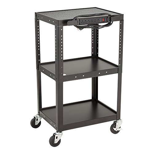 """Norwood Commercial Furniture NOR-GNO1009-SO Adjustable Height Metal AV Cart with Electric Power Cord, Black, 26-42"""" Height, 24"""" Wide, 18"""" Length"""