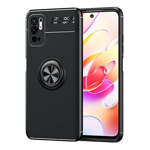 WEIOU Funda para Xiaomi Redmi Note 10 5G | Poco M3 Pro 5G, Anti-Rasguño Carcasa TPU Silicona Bumper Caso, Protectora Case Cover con Shock- Absorción y 360° Anillo Kickstand, Negro+Negro