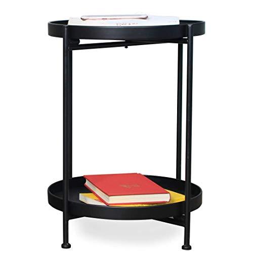 Mesa auxiliar redonda pequeña de 2 niveles para sala de estar, mesita de noche, mesita de noche, mesita de noche, color negro