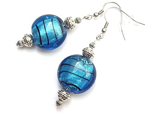 Pendientes de acero inoxidable Venezia con cuentas de cristal de Murano azules planas