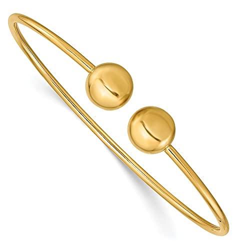 Brazalete apilable de oro de 14 quilates pulido flexible para mujer