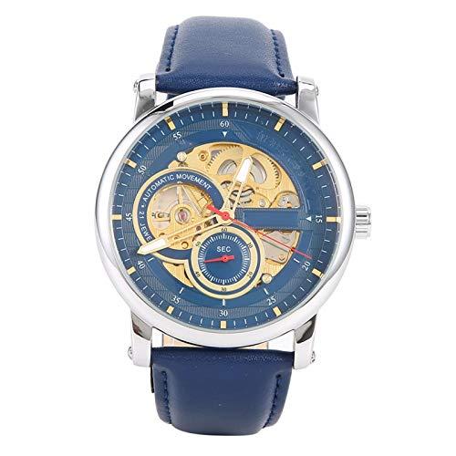 Reloj de pulsera mecánico, reloj de pulsera mecánico automático, reloj de pulsera para hombre con movimiento de viento automático, acero inoxidable y cuero de PU, resistente al agua hasta 10 m, adecua