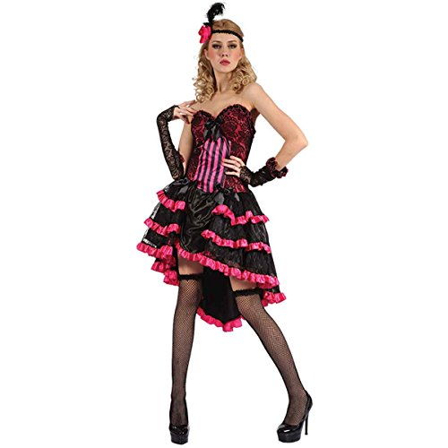 Hi Fashionz Sexy Western Saloon Girl Kostüm Burlesque Tänzerin Moulin Hen Do Fancy Hot Pink Outfit Gr. Einheitsgröße, Sexy Saloon Mädchen Kostüm für Erwachsene