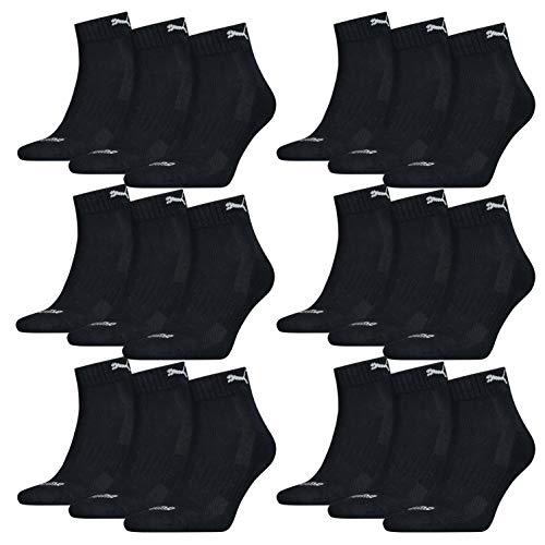 PUMA 18 Paar Quarter Socken mit Frottee-Sohle Gr. 35-46 Unisex Cushioned Kurzsocken, Farbe:Navy, Socken & Strümpfe:43-46