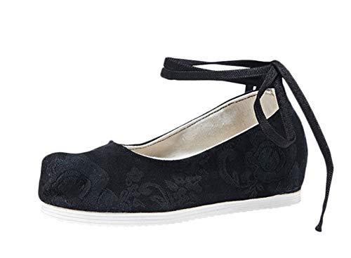 Liveinu Damen Gestickte Schnürhalbschuhe Wedge Schuhe mit Schnürsenkel Keilabsatz Ballerinas Clogs Pantoletten Espadrilles Hausschuhe Mary Jane Schwarz 34 EU