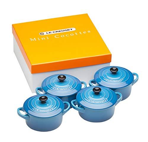 Le Creuset Mini-Cocotte/ Bräter-Set, 4-teilig, Rund, Je 200 ml, 10 x 5 cm, Steinzeug, Blau (Marseille)