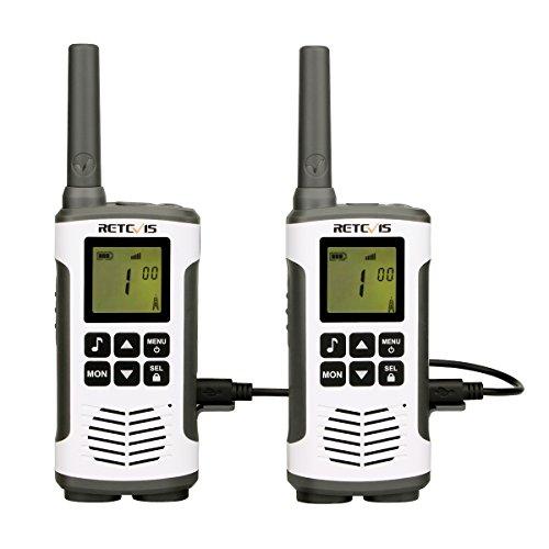 Retevis RT45 Walkie Talkie, PMR 446 sin Licencia, VOX, Pantalla LCD Retroiluminación, 10 Tonos de Llamada, Linterna LED, 3AA Baterías, Walkie Talkie Recargable (Blanco,1 Par)