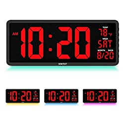 """YORTOT 16"""" Large Digital Wall Clock with 7 Color Decor Night Light, 4 Level Brightness Dimmer, Remote Control, Big Red Number LED Display with Indoor Temperature, Date and 12/24H, DST, Fold Out Stand"""