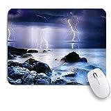 HASENCIV ゲーミング マウスパッド,海の夏の嵐とサンダー海自然の梅雨風景悪夢アートワーク,マウスパッド レーザー&光学マウス対応 マウスパッド おしゃれ ゲームおよびオフィス用 滑り止め 防水 PC ラップトップ