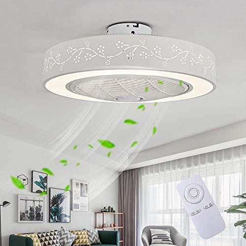 Ventilatore a Soffitto Con Lampada, Ventilatore Invisibile Creativo Con Telecomando Ventilatore a Soffitto a LED Ultra-silenzioso Dimmerabile Soggiorno Moderno Camera da Letto Per Bambini Lampada