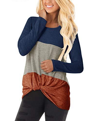 YOINS Camiseta de manga larga para mujer, asimétrica, cuello redondo, sudadera suelta, patchwork 3-azul oscuro XL