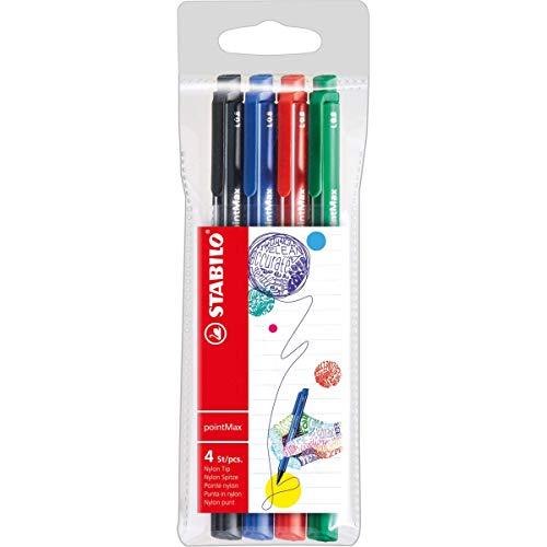 Caneta, Stabilo, PointMax, 53.4800, 4 Unidades, Azul/Preto/Vermelho/Verde