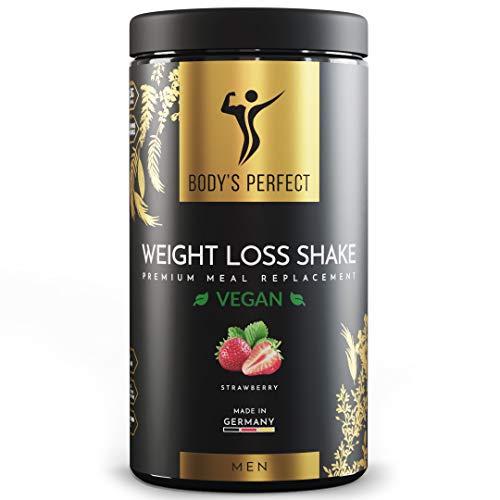 BODY'S PERFECT® - Weight Loss Shake für Männer, Diät Shake zum abnehmen mit hochwertigem Protein, mit allen wichtigen Vitaminen und Mineralstoffen, 500g (Vegan - Erdbeere)