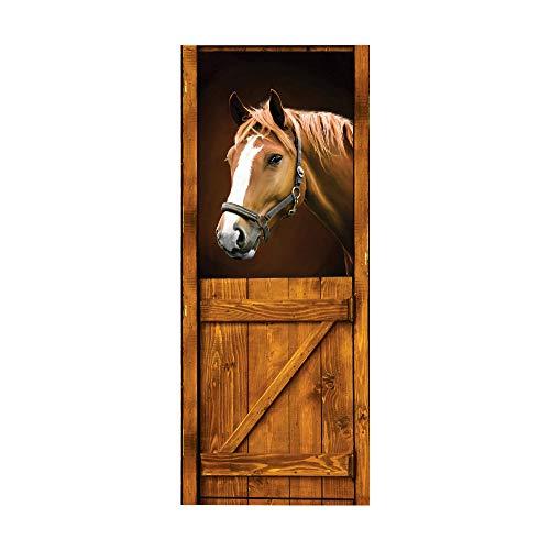 3D Türaufkleber Pferd Türtapete Wandbild Selbstklebend PVC Wasserdicht Abnehmbar Türfolie TürPoster Fototapete Wohnzimmer Schlafzimmer Haus Dekoration 77x200cm, A