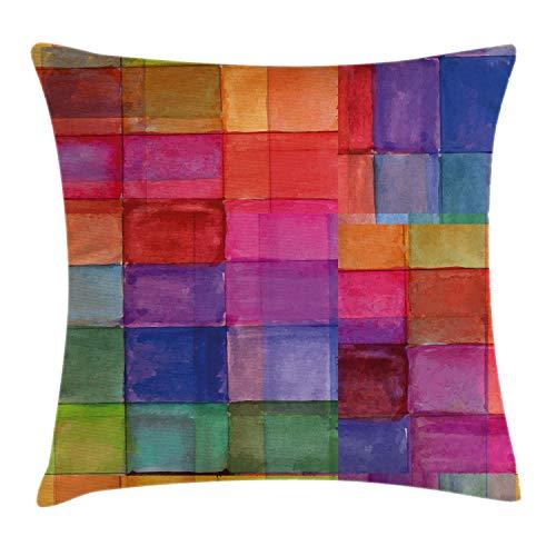 ABAKUHAUS Abstracto Funda para Almohada, Cuadrado Forma Geométrica Colores de Arco Iris Efecto Bruma Diseño en Acuarela, Colores Perdurables Tela Lavable, 40 x 40 cm, Multicolor