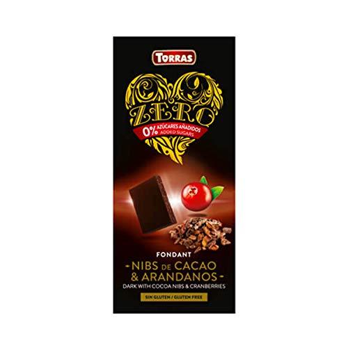 Torras Zero Schokolade, Schokolade ohne Zucker, Low Carb Schokolade, Dunkle Kakao Nibs mit Cranberries, Tafel (125g)