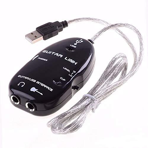 Cable de Guitarra, Cable de Guitarra, Adaptador de Interfaz de Enlace USB de Audio para Mac/Pc, Accesorios de grabación de música para guitarristas, Regalo (Negro)