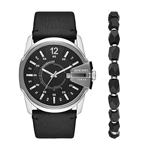 Diesel Herren Analog Quarz Uhr mit Leder Armband DZ1907