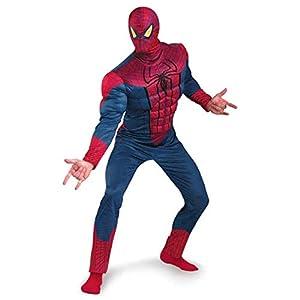 S&C Live ハロウィンコスチューム 大人コスチューム メンズ スパイダーマンコスプレ2点セット 高品質 リアル 大きいサイズ スパイダーマンマスク付 スパイダーマン筋肉服 オールインワン スパイダーマン全身衣装 かっこいい マッチョ 筋肉服 スパイダーマン全身着ぐるみ レッド×ブルー 赤 紺 マーベルアベンジャーズコスプレ ハロウィン/クリスマス/新年会/忘年会/イベント仮装 学園祭仮装Marvel's The Avengers Costume#180231 (01, フリーサイズ)