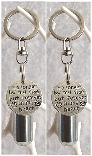 KGS Timeless Memorials Pet Ashes Urn - No Longer By My Side. Set of Cremation Keepsake Urn, Urn for Ashes or Fur, Cremation Jewellery for Pets, Pet Ashes Pendant (Silver, 2 x Key Rings)
