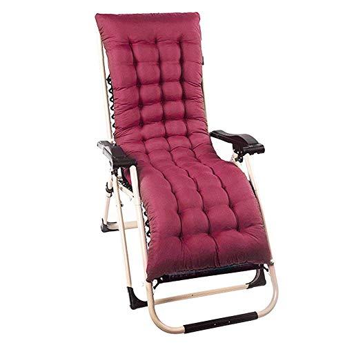 ZYX Cojín grueso para tumbona, cojín de jardín, cojín reclinable para patio, solo funda de asiento para interior y exterior, viaje, silla de relax (1 pieza roja)