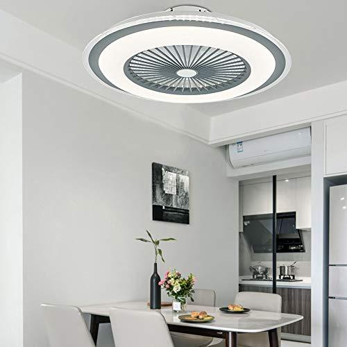 Berkalash – Ventilador de techo con iluminación, 23 pulgadas LED Ventilador de techo con lámpara, regulable con mando a distancia, 60 W de luz para salón, dormitorio, comedor (gris)
