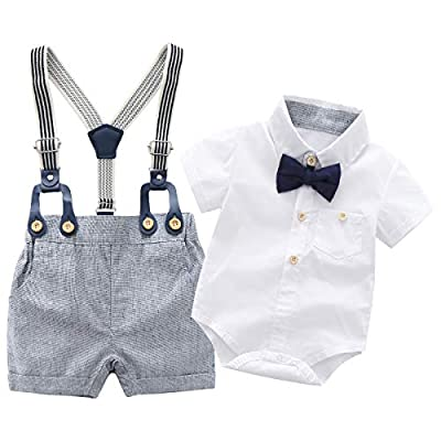 Baby Boys Gentleman Outfits Suits, Infant Short Sleeve Shirt+Bib Pants+Bow Tie Overalls Clothes Set,12-18M White by Boarnseorl