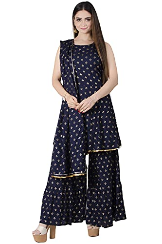 Chandrakala Foil Print Kurti Sharara Set for Women Rayon Cotton Indian Ethnic Tunic,Small (K184NAV1)
