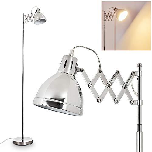 Staande lamp Saksisch, vintage vloerlamp van metaal in chroom, lampenkap Ø 14 cm, E27 fitting, max. 28 Watt, verstelbare vloerlamp in retrodesign, geschikt voor LED-lampen
