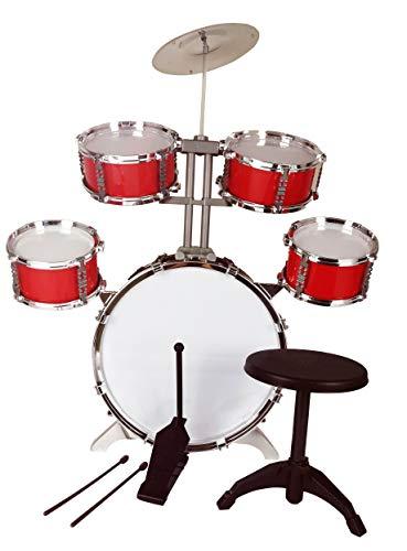 Best For Kids Schlagzeug für Kinder XL Bass 4 Trommeln Becken Hocker Drumsticks Drumset