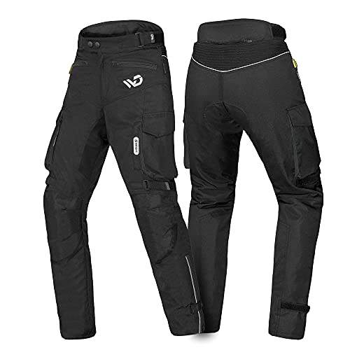 WD Motorsports Textile Motorcycle Pants Mens Waterproof Adventure Motorcycle Pants with Armor, Summer-Winter Black