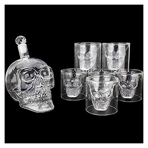 Decantador de whisky Skull CHARAFE CRYSTAL 700 ml Gafas de tiro Conjunto de whisky Decanter con 6 x 75 ml Viernes Vodka Vodka vasos cristal WUTONG