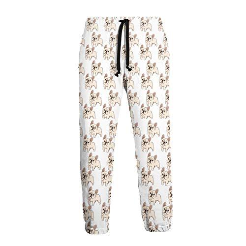 French Bulldog Unisex Men Women Novelty Sports Jogger Pants Lounge Pants with Drawstring Pockets White