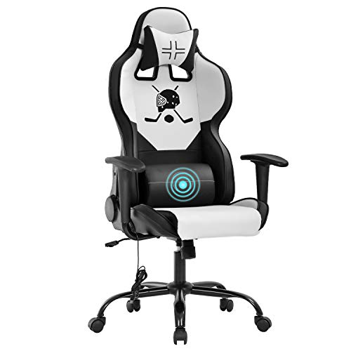 Gaming Chair Office Chair Desk Chair with Lumbar Support Headrest Armrest Task Rolling Swivel Massage PC E-Sports Hockey Racing Chair PU Leather Adjustable Ergonomic Computer Chair for Men(White)